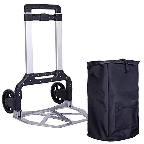 Einkaufstrolleys Schwerlastplattform-Laufkatzen-teleskopischer faltender Aluminiumlegierungs-Handwagen-Transport 130Kg (Farbe : with Bag)