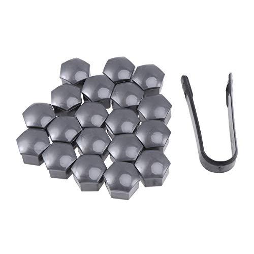 Vosarea 21 en 1 Boulon écrou de Roue Capuchons Protection Hexagonal pour écrous de Roue Universel Cache Vis écrou de Protection avec Pince Gris 17mm