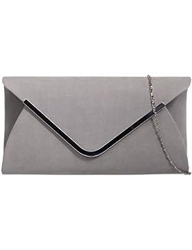 New Damen Faux Wildleder Silber Trim Kupplung silber Kette Gurt Umschlag Handtasche