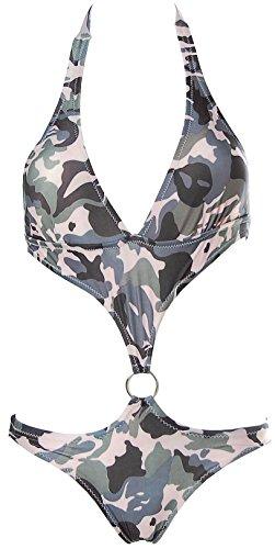 Damen CAMOUFLAGE Monokini Bikini RING Tarnmuster Grau S (34) -
