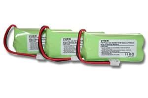 3 x Ni-MH battery 600mAh (2.4V) suitable for Telephone Philips Dect, Kala, Xalio, Aleor, Zenia, etc. Replace: 2HR-AAAU, H-AAA600X2, H-AAA500X2