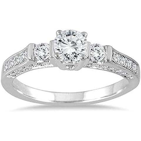 1Carat TW tres piedra Estate estilo anillo en 14K chapado en oro blanco de plata de ley