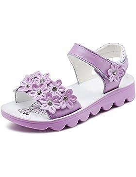 OCHENTA Chicas Color Caramelo Abierto Dedo del pie Correa Cierre Flor Sandalias (Niña / Niña pequeño / Niña grande)