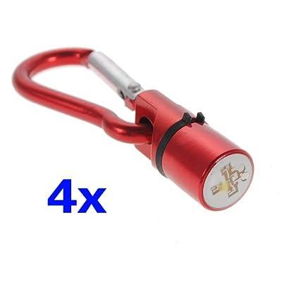 SODIAL (R) 4 rote Aluminium Hund, Katze, Haustier Sicherheit blinkende Flash-LED-Licht Collar Tag Wasserdicht