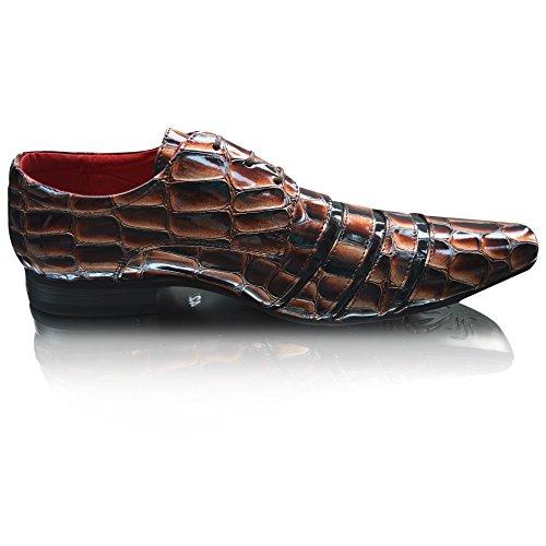 Smart Cover en cuir pour homme Noir/Marron Fashion Line-Croc-dérapant sur l'apprentissage formel Lacets plats pour chaussures Taille 7, 8, 9, 10 11 - Brown Croc Lace Up