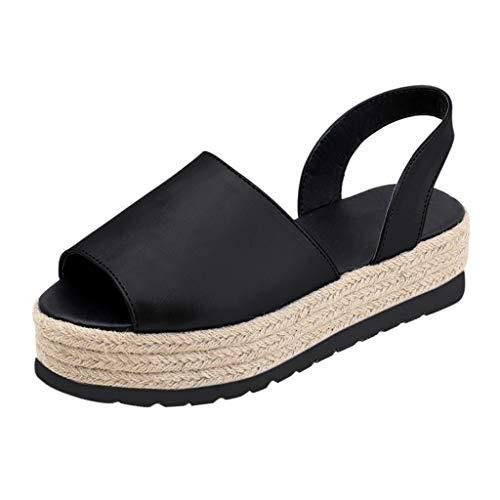 Sandalias Mujer Verano 2019 con Plataforma - Roman Paja Tejido Zapatos de Cuña - con Altas Tacon 5...