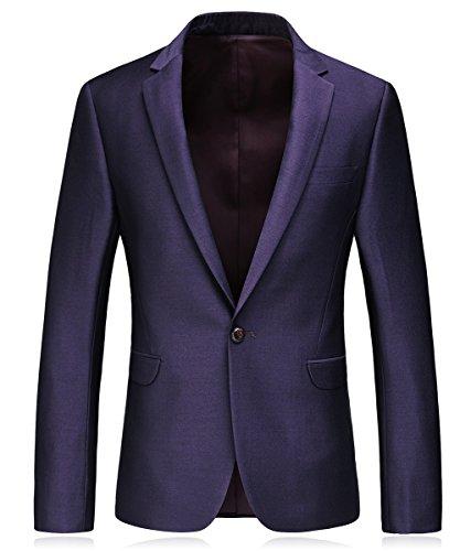 MOGU Uomo Classic 3 pezzi Slim Fit Dinner Tuxedo Blazer Jacket Tux Vest e pantaloni Viola