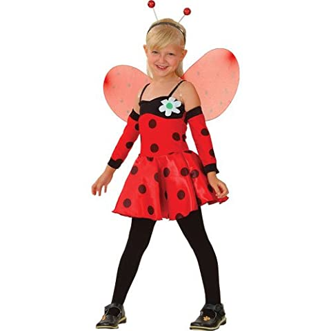 (L) Girls Lovely Ladybug Costume for Animals Bugs Creatures Fancy Dress Kids Childs Large Age 8-10
