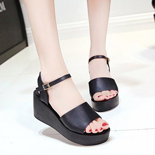 RUGAI-UE Semplice sandali donna estate scarpe piatte Black