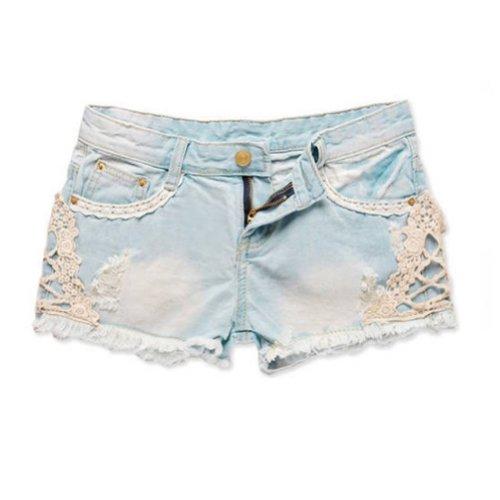 Jeans pizzo - TOOGOO(R) Vita Shorts bassa del merletto della ragazza Cut-Off del denim dei (Ragazzi Jean Shorts)