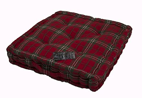 Homescapes - Edward Tartan - 100% Cotton - Floor Cushion - Red Geen - 40 x 40 x 10 cm Square - Indoor - Garden - Dining Chair Booster - Seat Pad