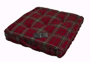 Homescapes – Tartan Edward – 100% Coton – Coussin de Sol – Rouge Vert - 50 x 50 x 8 cm - Carré – Intérieur – Jardin – Rehausseur Chaise de Salon – Coussin Chaise