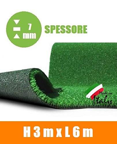 italfrom prato sintetico 7 mm h 3,00 finta erba tappeto manto giardino calpestabile (3x6m)