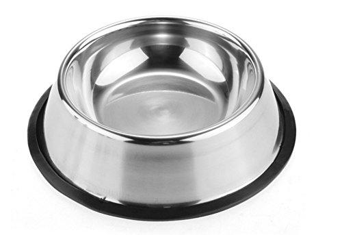 Nuovo Utile Acciaio inossidabile Nessun suggerimento non Skid Cane Cucciolo Gatto Animale domestico Il cibo Acqua Ciotola Piatto (30cm)