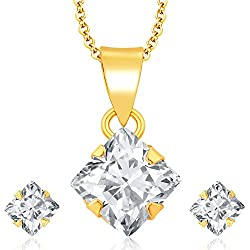 Archi Collection Designer Jewellery White American Diamond Pendant with Chain and Earrings for Girls and Women