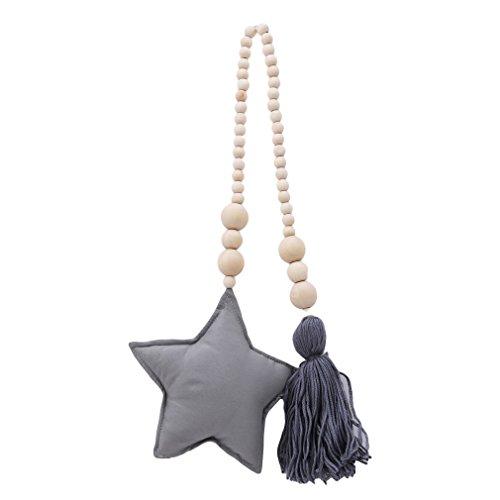 Pinhan Holzperlen String Sterne Mond Quaste Hängende Wand Vorhang Dekoration Sling Kinderzimmer Krippe Zelt Dekoration Ornamente für DIY, grau Perlen Sling
