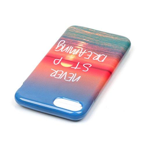 Per iPhone 7, Sunrive Cover Case Custodia in molle Ultra Sottile morbido TPU silicone Morbida Flessibile Pelle Antigraffio protettiva(inglese) tramonto