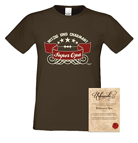 Super Opa Geschenk-Set: Herren T-Shirt plus Urkunde Geschenkidee als Weihnachtsgeschenk Geburtstagsgeschenk auch in Übergrößen Farbe: schwarz braun-18