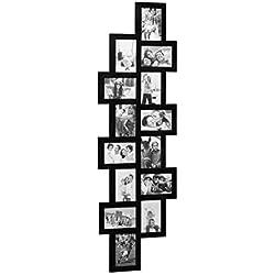 Relaxdays Cadre photos pêle-mêle 14 photos Galerie mur cadre mural 10x15 HxL: 118 x 36 cm, noir