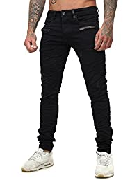 Justing Homme Maigre s'adapter Jeans BURNER avec Similicuir Applications détruit Effekte Veganes Cuir