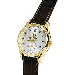 Schweizer Herrenuhr - BÜREN Grande Date GMT, vergoldet