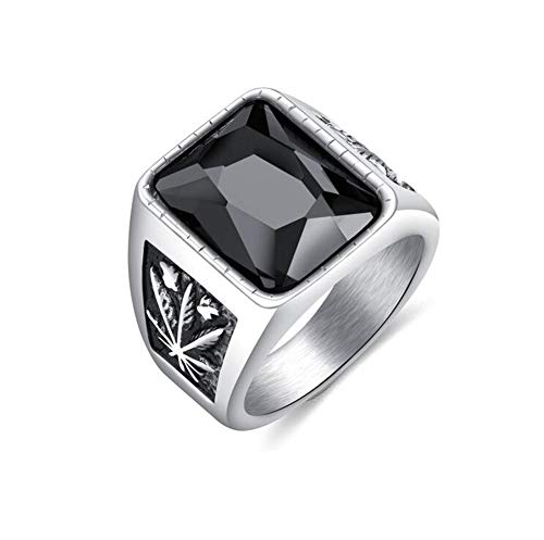 PAMTIER Herren Edelstahl Dominant Kubisch Schwarz Kristall Ring Marihuana Blatt Geschnitzt Silber Plattiert Größe 62