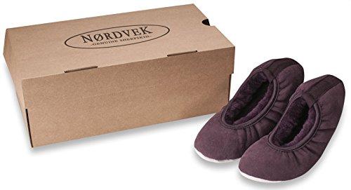 Norvek - Pantofole donna in vera pelle di pecora - Stile ballerina - # 410-100 Viola