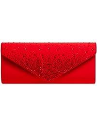 69c1bc13ee939 CASPAR TA422 elegante Damen Baguette Envelope Clutch Tasche mit Strass