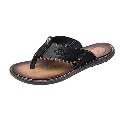 Männer Leder Mode (Junkai Männer Klassische Mode Lässig Anti-Rutsch-Leder Flip-Flops Hausschuhe Sommer Komfortable Leichte Thongs Sandalen)