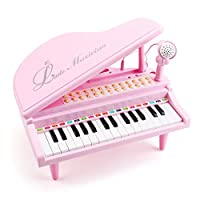 Amy&Benton Toddler Piano Music Toys Gifts for 1 2 3 4 5 Years Old Girls, 31 Keys Electronic Keyboard Musical Toy Set Pink with Microphone Light and Song, Baby Kids Educational Toys
