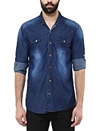 Urbano Fashion Men's Dark Blue Casual Denim Shirt
