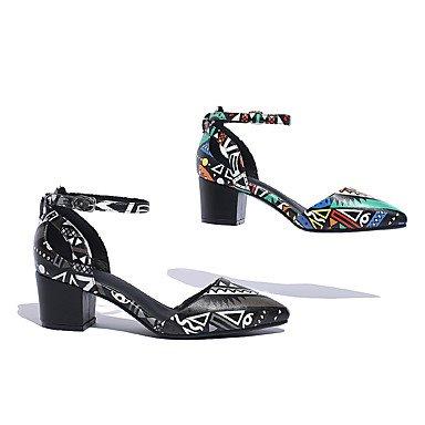 LvYuan Damen-Sandalen-Büro Kleid Party & Festivität-Kunststoff-Blockabsatz-Andere-Schwarz Mehrfarbig multi-color