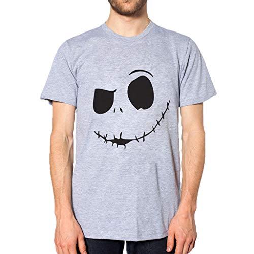Crazboy Herren Summer Neu Evil Smile Face Bedrucktes, bequemes T-Shirt mit rundem Kragen(Small,Grau)