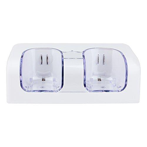PROUS LU01 Dual Wii Ladestation Fernbedienung Ladegerät Docking Station mit 2 Akkus & LED Licht für Wii Fernbedienung (Drittanbieter Produkt) - Docking Ladegerät Wii Station