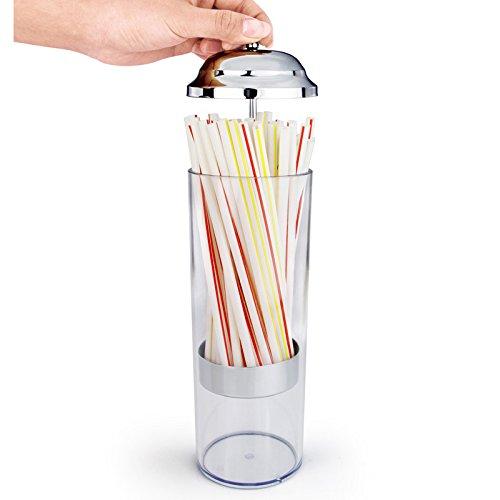 Mannily - Dispensador de pajita de plástico transparente creativo soporte dispensador de pajita organizador con tapa de acero inoxidable