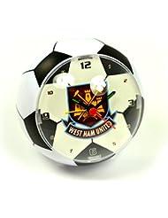 Premier Drop Shop - Reloj despertador magnético, 10 cm, producto oficial, diseño de balón de fútbol con el escudo del West Ham United F.C.