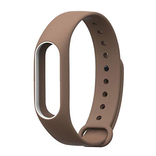 Hunpta Original Silikon Handgelenk Armband Wrist Strap Wrist Band Bracelet Ersatz für Xiaomi MI Band 2 (Kaffee)