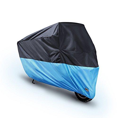 Preisvergleich Produktbild Motorroller Abdeckung Motorrad Abdeckplane Outdoor,MONOJOY Motorradabdeckung Motorradhaube Wasserdicht Motorradgarage Vespa Plane Roller Abdeckplane (schwarz +Blau, XL 230X95X125)