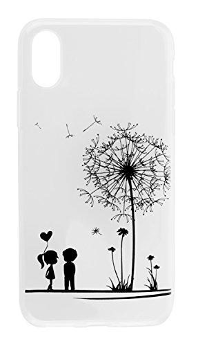 yayago Hülle für Apple iPhone X Silikon Schutzhülle Hülle Case Backcover Tattoo Ornament Love Design transparent Tasche LOVE