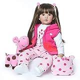 24 pouces 60cm Poupée bébé Poupée enfant Poupée en silicone Poupée réaliste Cheveux longs noirs asiatiques fille Reborn doll