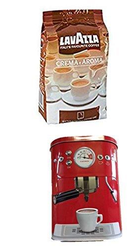 Lavazza Kaffee Bohnen Crema E Aroma, Bohnenkaffee, 1er Pack, 1 x 1000g + Kaffeedose neu 3 D Design...