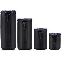Lot de 4 étuis de Protection en néoprène imperméable pour Objectif d'appareil Photo DSLR SLR - Doublure intérieure Douce - Housse rembourrée Anti-Chocs et Anti-poussière
