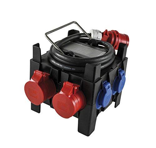 CEE Stromverteiler - Strom überall Verfügbar ohne Aufwändige Installation - CEE Stecker, 2 x CEE Outdoor Steckdose, 5 x Schuko-Steckdose - CEE Adapter Verteilerkasten mit FI-Schutzschalter, IP44