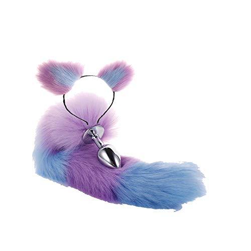 Kostüm Ohren Blaue Katze - ieyol lila mit blauen Plüsch-Katzen-Ohren Stirnband Faux Fuchs Schwanz für Halloween Kostüm