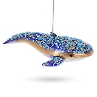 BESTPYSANKY Blue Whale Blown Glass Christmas Ornament