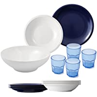 Cartaffini - Agile - Juego de cámping DE 14 Piezas, en melamina, Colores Blanco/Azul, 25 cm