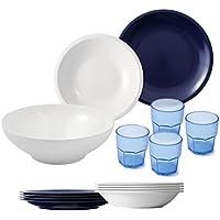 Cartaffini - Set camping Bianco/Blu - bicchieri azzurri, 14 pezzi: 1 insalatiera, 4 piatti piani, 4 piatti fondi, 4 bicchieri, 1 borsa