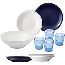 cartaffini Agile Juego Camping 14piezas, melamina, blanco/azul