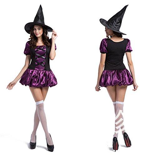 Hexe Kostüme Halloween-Party-Set für Damen / Damen Abendkleid Lila (Kostüm Catrina Männer)
