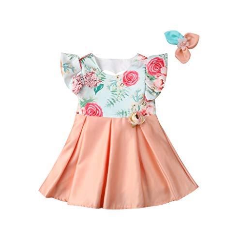 Prinzessin Kleid Blumenmädchen Kleider Mädchen Dress + Haarspange Zweiteilig Pwtchenty Hochzeitskleid Ärmelloses Festzug Dress Abschlussball Ballkleid